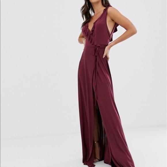 ASOS Dresses & Skirts - ASOS DESIGN Tall ruffle wrap maxi dress tie detail